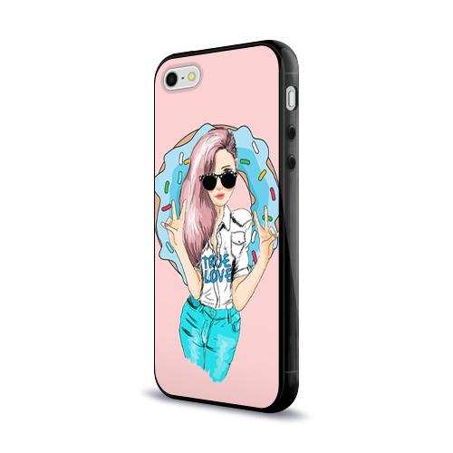 Чехол для Apple iPhone 5/5S силиконовый глянцевый  Фото 03, Моя любовь - пончики