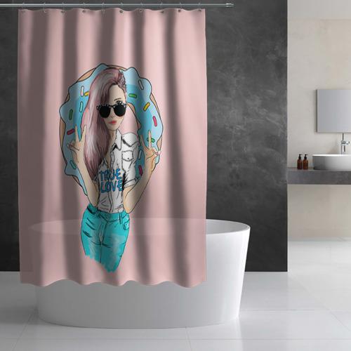 Штора 3D для ванной Моя любовь - пончики Фото 01