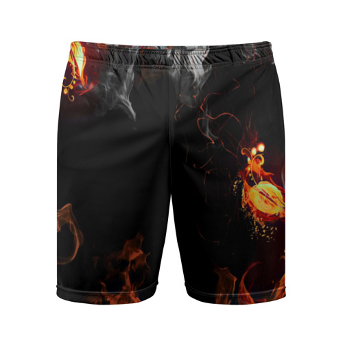 Мужские шорты 3D спортивные  Фото 01, Огонь