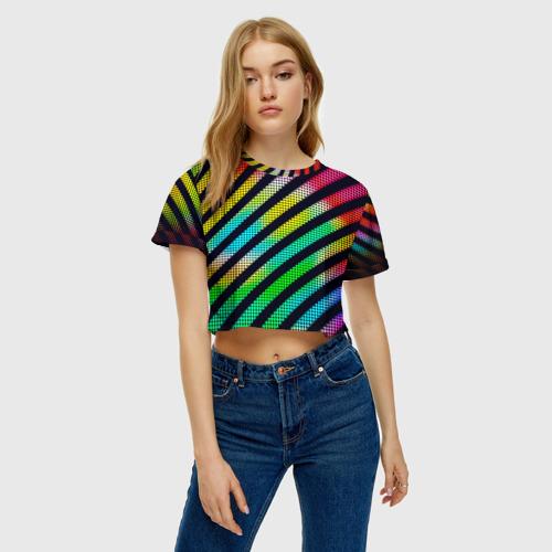 Женская футболка 3D укороченная  Фото 04, Полосы