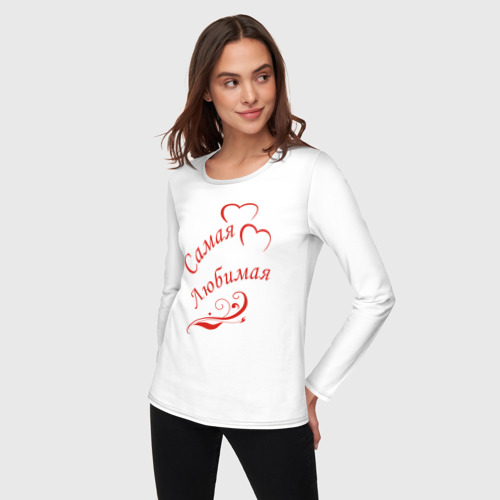 Женский лонгслив хлопок  Фото 03, Самая любимая. Цвет красный