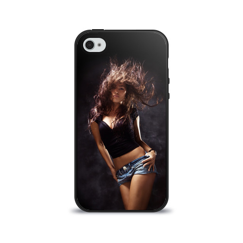 Чехол для Apple iPhone 4/4S силиконовый глянцевый Страстная девушка от Всемайки