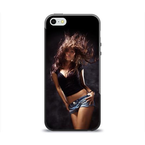 Чехол силиконовый глянцевый для Телефон Apple iPhone 5/5S Страстная девушка от Всемайки