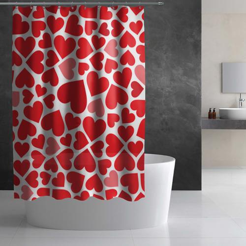 Штора 3D для ванной Сердечки Фото 01