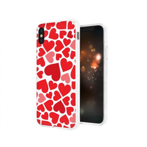 Чехол для Apple iPhone X силиконовый глянцевый  Фото 03, Сердечки
