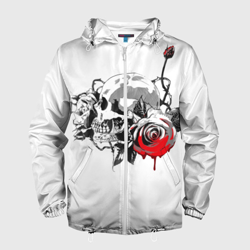 Мужская ветровка 3D  Фото 01, Череп с розами