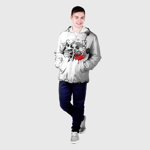 Мужская куртка 3D  Фото 03, Череп с розами