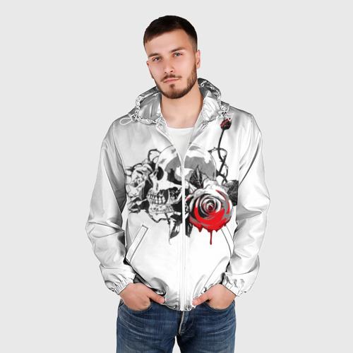 Мужская ветровка 3D  Фото 03, Череп с розами