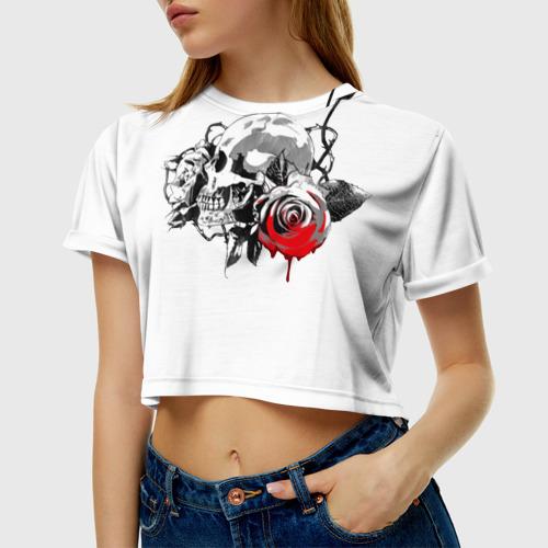 Женская футболка 3D укороченная  Фото 01, Череп с розами