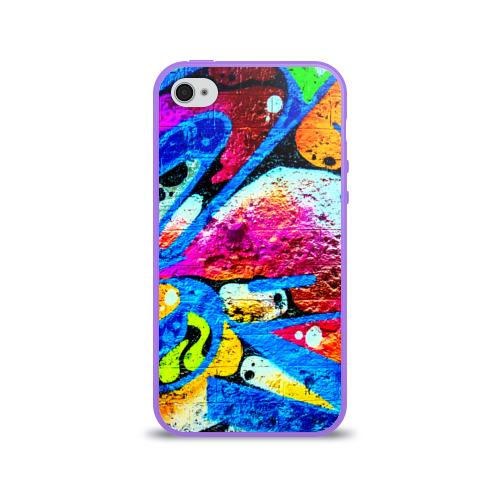 Чехол для Apple iPhone 4/4S силиконовый глянцевый Граффити Фото 01