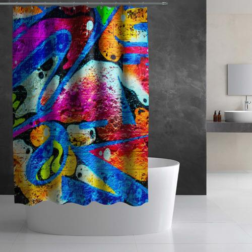 Штора 3D для ванной Граффити Фото 01