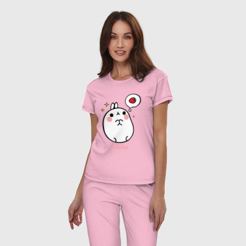 Женская пижама хлопок Кролик Моланг (клубника) Фото 01
