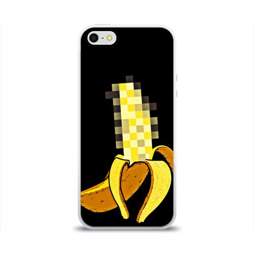 Чехол для Apple iPhone 5/5S силиконовый глянцевый  Фото 01, Банан 18+