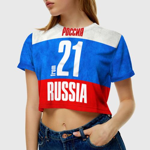 Женская футболка 3D укороченная Russia (from 21)