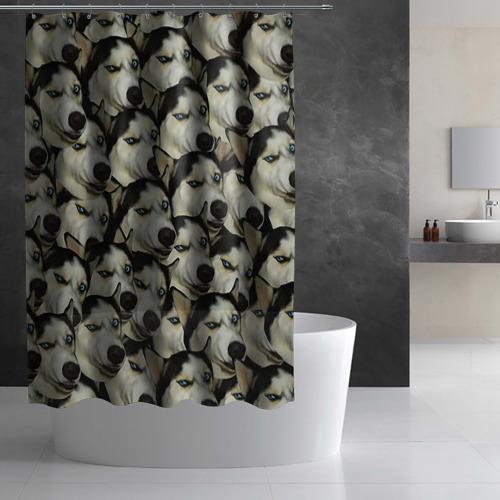 Штора 3D для ванной  Фото 02, Хаски