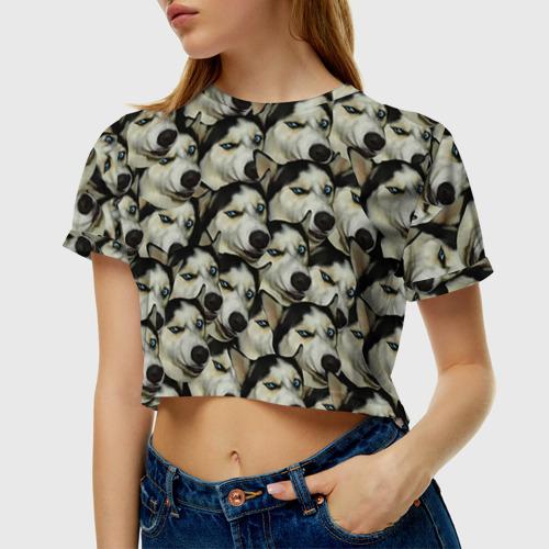 Женская футболка 3D укороченная Хаски