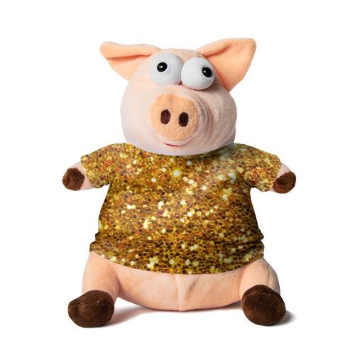 Свинка в футболке 3D Золотое мерцание