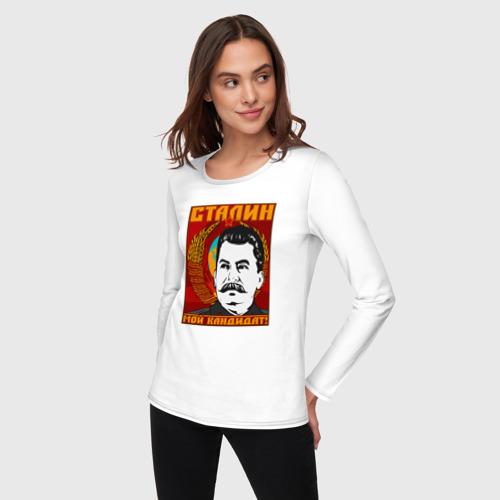 Женский лонгслив хлопок  Фото 03, Мой кандидат (Сталин)