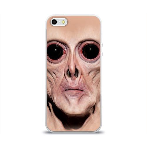 Чехол для Apple iPhone 5/5S силиконовый глянцевый  Фото 01, Пришелец