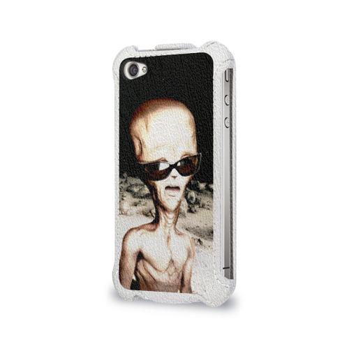 Чехол для Apple iPhone 4/4S flip  Фото 03, Пришелец