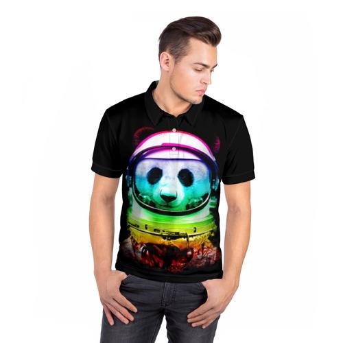 Мужская рубашка поло 3D  Фото 05, Панда космонавт
