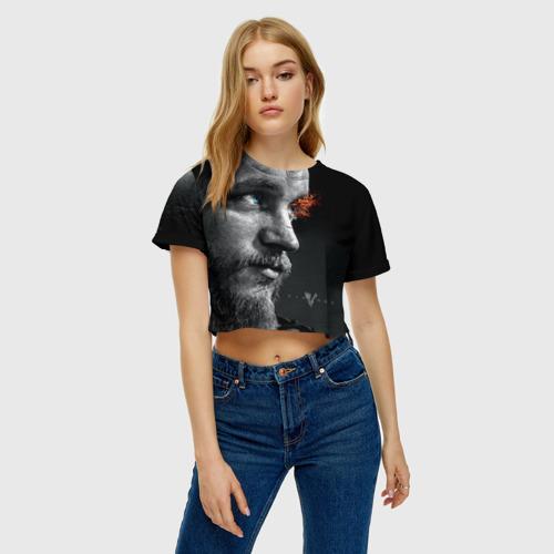 Женская футболка 3D укороченная  Фото 04, Викинги