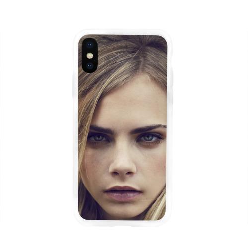 Чехол для Apple iPhone X силиконовый глянцевый  Фото 01, Кара Делевинь