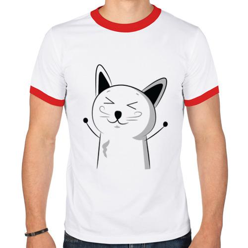 Мужская футболка рингер  Фото 01, Счастливый Котэ