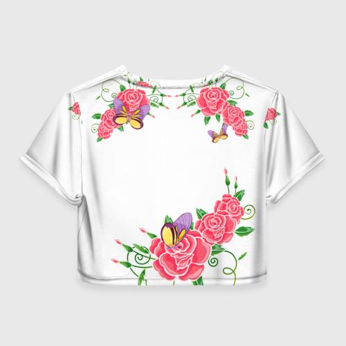 Женская футболка 3D укороченная  Фото 02, Цветы