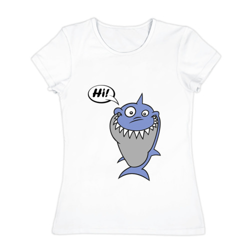 Женская футболка хлопок  Фото 01, Акула