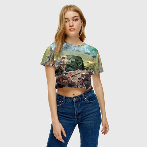 Женская футболка 3D укороченная  Фото 04, Сражение