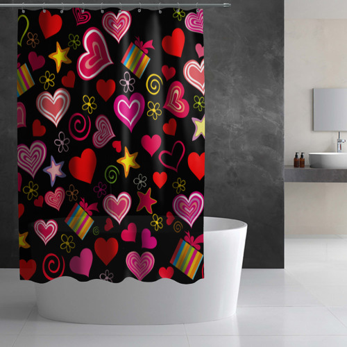 Штора 3D для ванной Любовь Фото 01