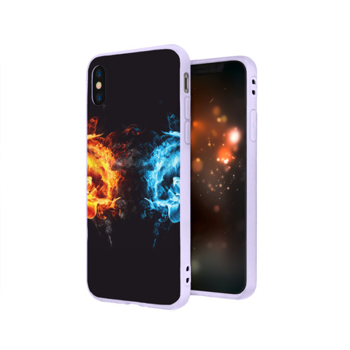 Чехол для iPhone X матовый Лёд и пламя Фото 01