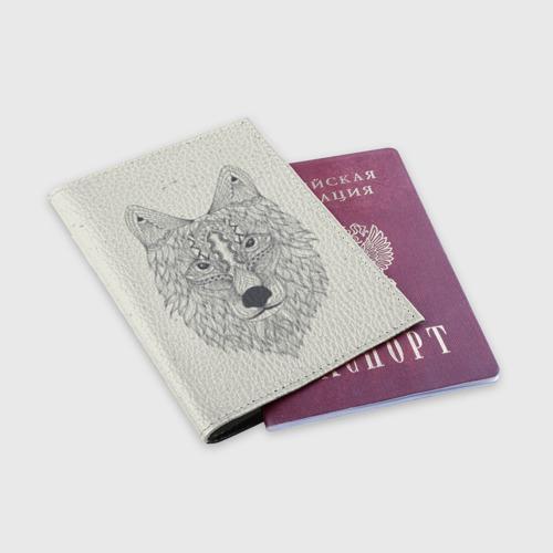 Обложка для паспорта матовая кожа  Фото 03, Волк-шаман