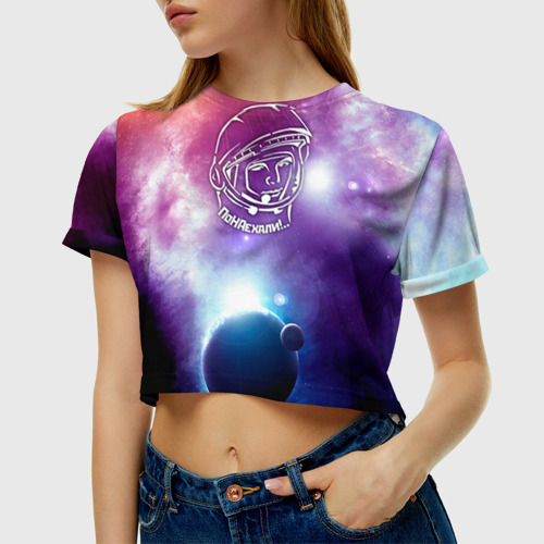 Женская футболка 3D укороченная  Фото 01, Гагарин 4