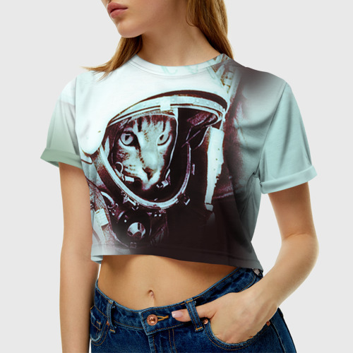 Женская футболка 3D укороченная  Фото 01, Котмонавт