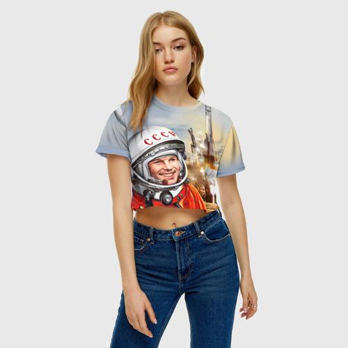 Женская футболка 3D укороченная  Фото 04, Гагарин 8