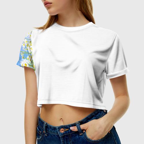 Женская футболка 3D укороченная  Фото 01, Ромашки