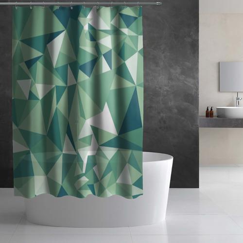 Штора 3D для ванной Зеленые полигоны Фото 01