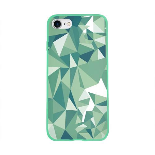 Чехол для Apple iPhone 8 силиконовый глянцевый Зеленые полигоны Фото 01