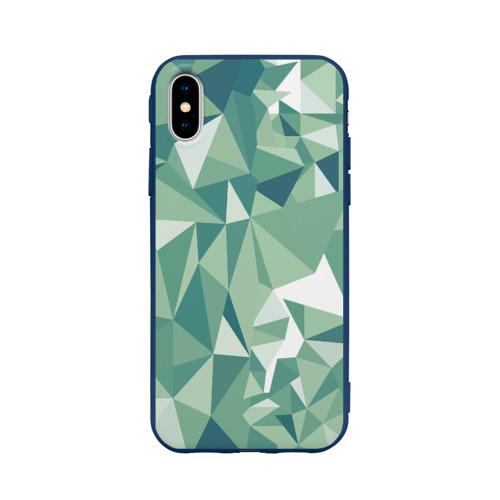Чехол для Apple iPhone X силиконовый матовый Зеленые полигоны Фото 01