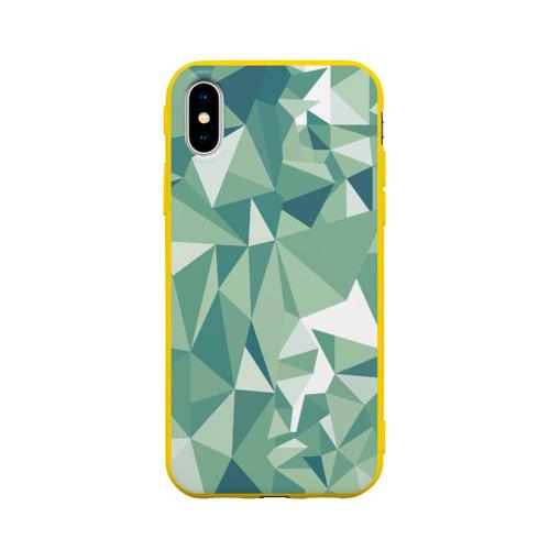 Чехол для iPhone X матовый Зеленые полигоны Фото 01