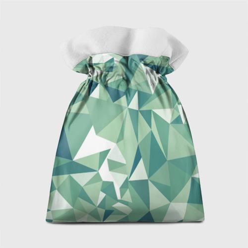 Подарочный 3D мешок Зеленые полигоны Фото 01