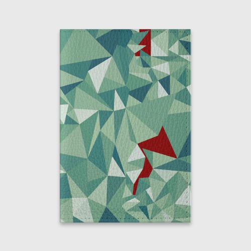Обложка для паспорта матовая кожа Зеленые полигоны Фото 01