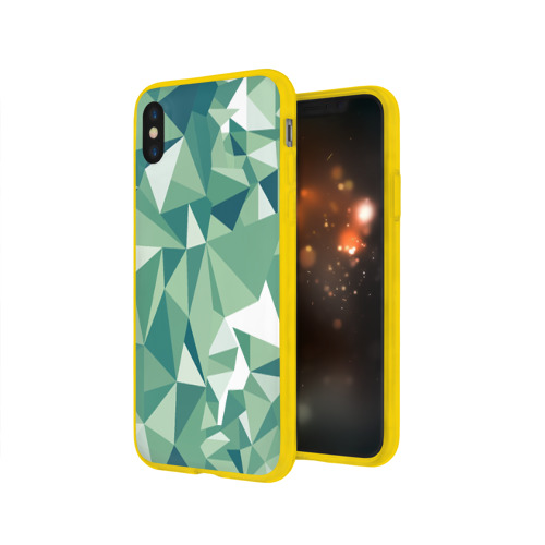 Чехол для Apple iPhone X силиконовый глянцевый Зеленые полигоны Фото 01