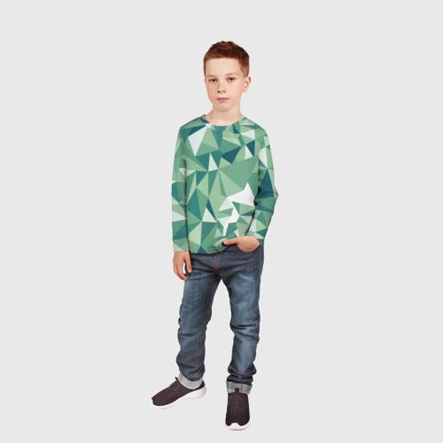 Детский лонгслив 3D Зеленые полигоны Фото 01
