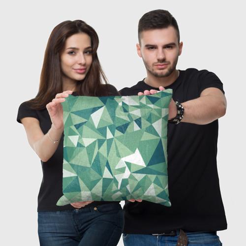 Подушка 3D Зеленые полигоны Фото 01