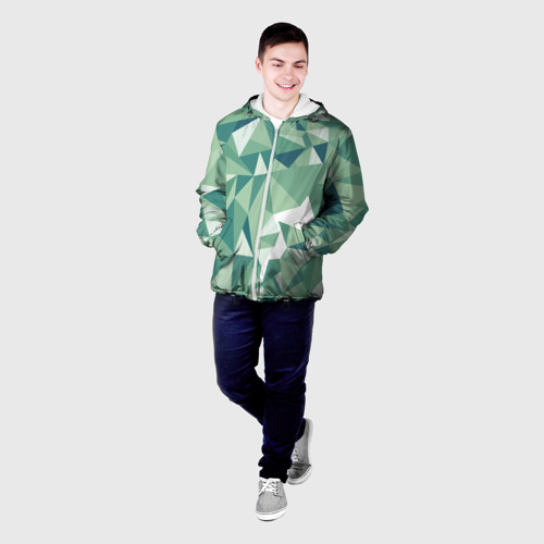 Мужская куртка 3D Зеленые полигоны Фото 01