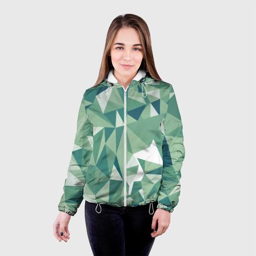 Женская куртка 3D Зеленые полигоны Фото 01
