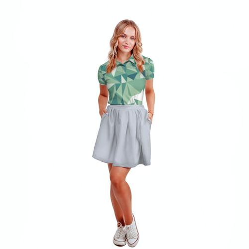 Женская рубашка поло 3D Зеленые полигоны Фото 01